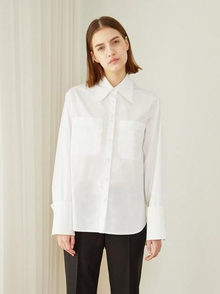HACER SEOUL Cotton Collar Shirts - White