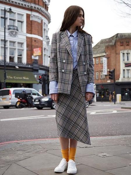 Ava Molli Jenia Lap Skirt - Check Brown