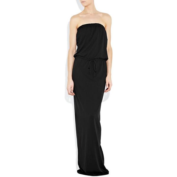 Black strapless jersey maxi dress