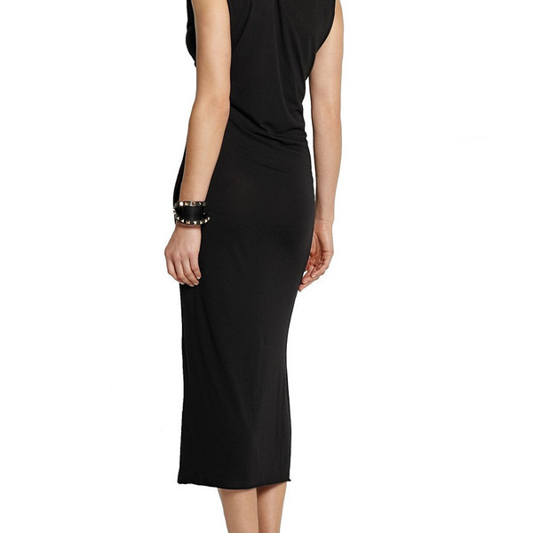 Black wrap effect jersey dress Fitted over the knee dress with draped neckline