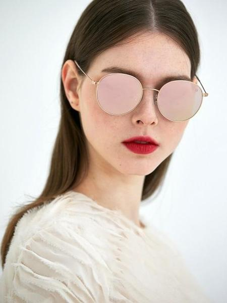 COLLABOTORY Tuesday Sunglasses - Rose Gold/Pink Mirror
