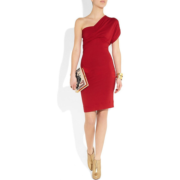 One shoulder stretch jersey dress
