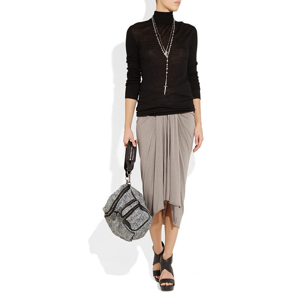 Ruched jersey midi skirt