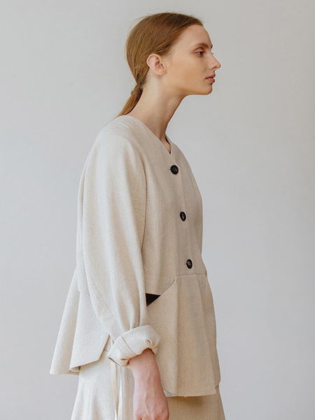 CHUNGPEPE Side Ribbon Cardigan - Ivory
