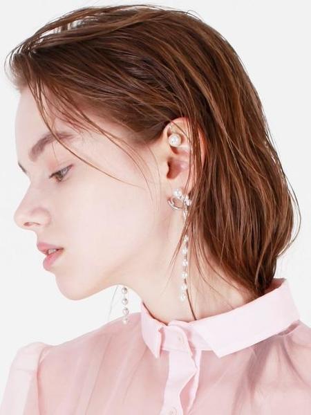 DE LA LUNE Three Pearl Chain Earring - Silver
