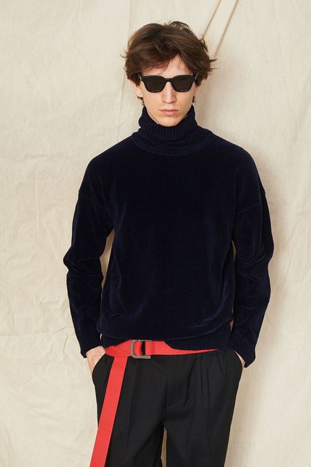 Our Legacy Velvet Turtleneck - Navy