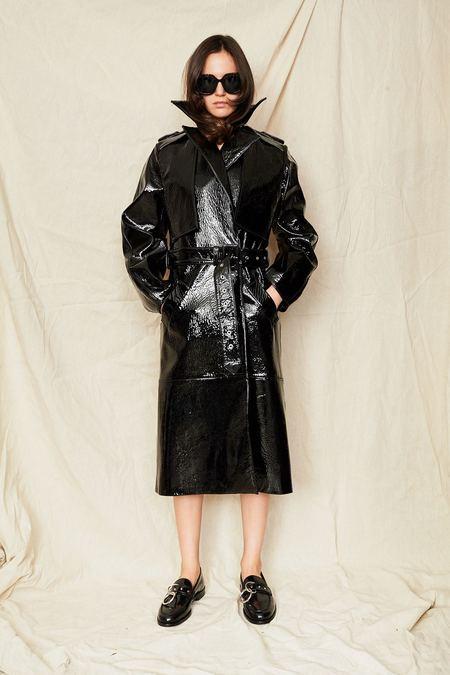 Jovana Markovic Patent Leather Coat - BLACK