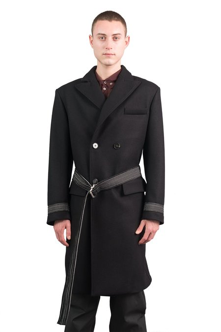 Plus Que Ma Vie Double Breasted Wool Coat W/ Belt - BLACK