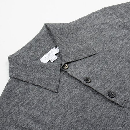 Sunspel Long Sleeve Merino Polo - Mid Grey Melange