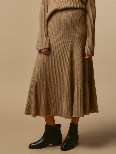 Pure Cashmere NYC Flared Rib Skirt - Dark Beige