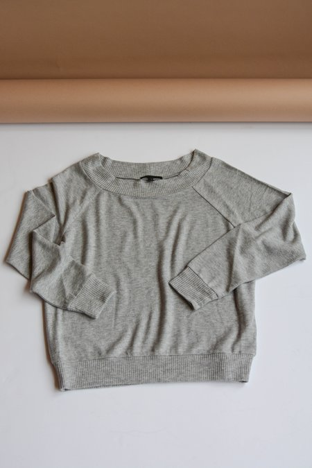 Beautiful People Brushed Jersey Off Shoulder Sweatshirt - Heather Grey