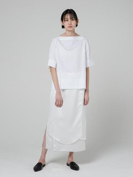 GRID SEOUL Wrap Silky Wave Skirt - White