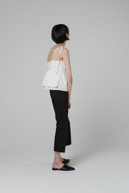 GRID SEOUL Shirring Layered Bustier - White