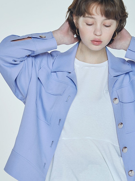 CLUE DE CLARE Oversized Trucker Jacket - Blue