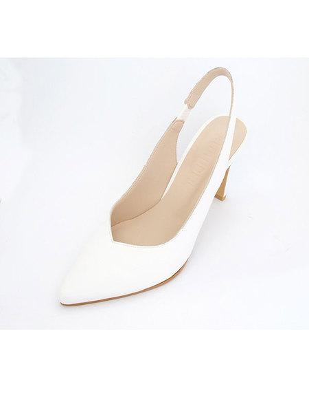 Attitude;L Sugar Slingback Heels - White