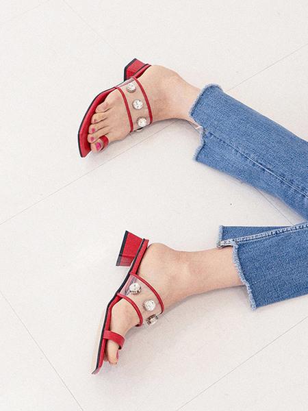 GISELLINA Seethrough Heels - Red