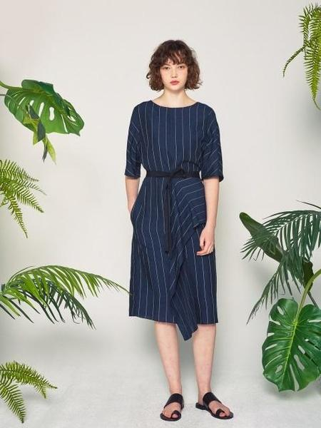STUDIO DAARI Silk Linen Wrap Dress - Navy Stripe