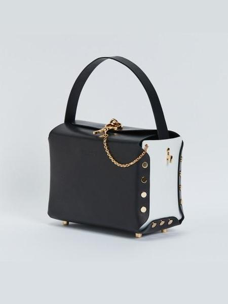 DIERNEAS Garden Lunch Italian Leather Bag - Night Black