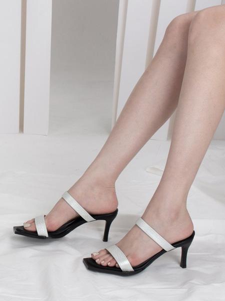 JI LLL. Y Fin Strap Sandal - Pearl White