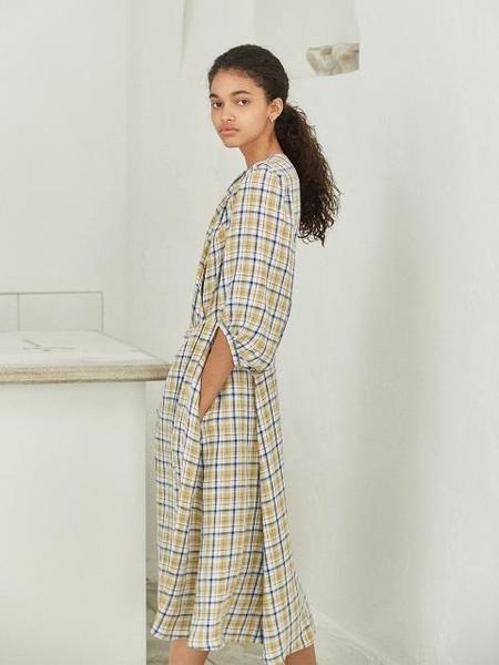 AKRO Linen Shirring Dress - Check