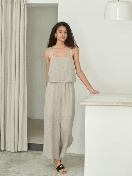 AKRO Open-Back Linen Jumpsuit - Beige