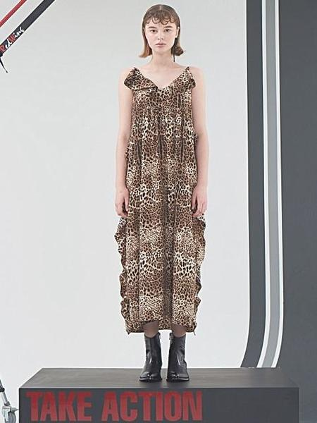 HOLY NUMBER 7 Reversible Maxi  Leopard Dress - Brown