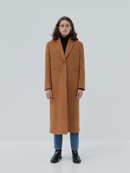 CURRENT One Button Long Single Coat - Beige