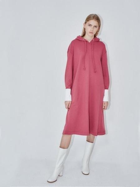 AND YOU Brisbane Oversized Hoodie Dress - Raspberry/White