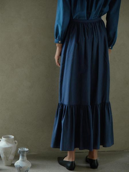 AKRO Tiered Silk Blend Maxi Skirt - Navy