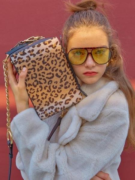 HIGH CHEEKS Half N Half Square Bag - Leopard