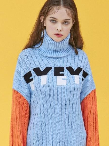 EYEYE Embroidery High Neck Knit Top - Blue