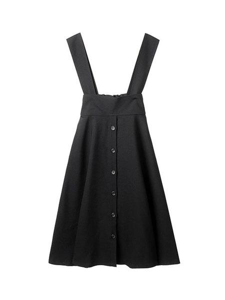 HIDDEN FOREST MARKET Suspender Flare Skirt - Black/Mustard