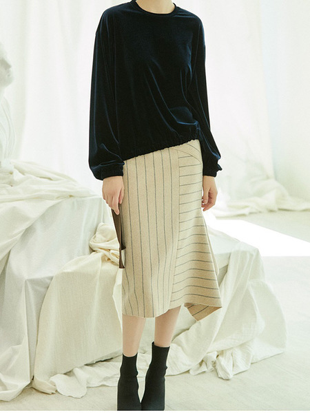 CLUE DE CLARE Side Slit Stripe Skirt - Beige