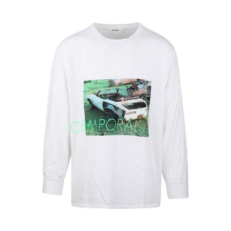 Digawel Car Print Long Sleeve T-Shirt - WHITE