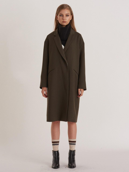 FREAKS Minimal Loose Fit Wool Coat-Dress With Puppy Embro - KHAKI BROWN