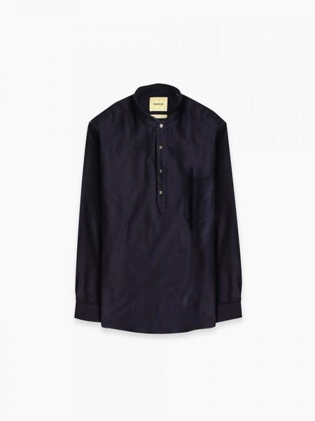 De Bonne Facture Grandad Popover Shirt - Navy