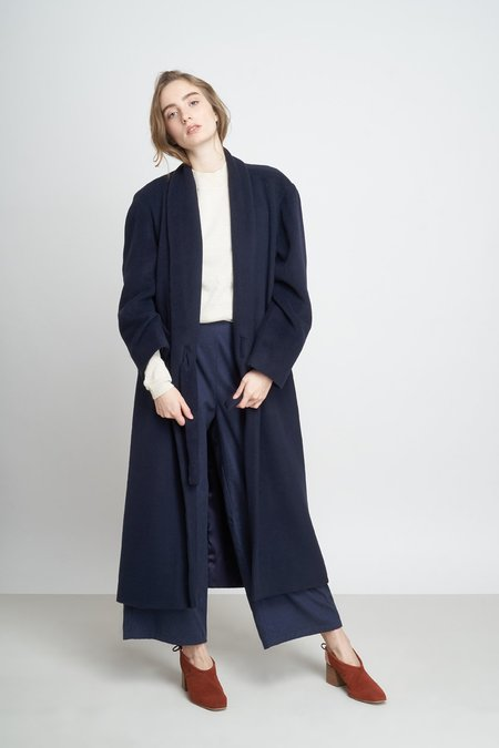 Jungle Folk Aika Dropped Shoulders Long Coat - Navy