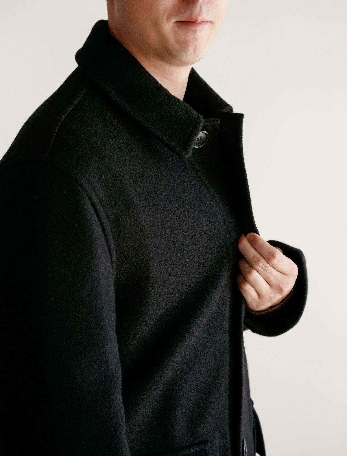 margaret howell military melton worker coat midnight garmentory. Black Bedroom Furniture Sets. Home Design Ideas