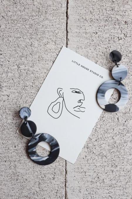 Little House Studio Co. Cleo Earrings - Black/White Marble