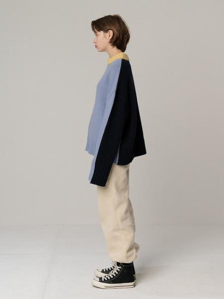 ROCKET X LUNCH 3 Color Oversized Fit Knit Top - Sky Blue