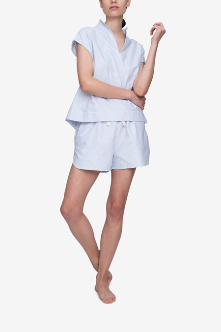 The Sleep Shirt Curved Hem Short - Blue Oxford Stripe