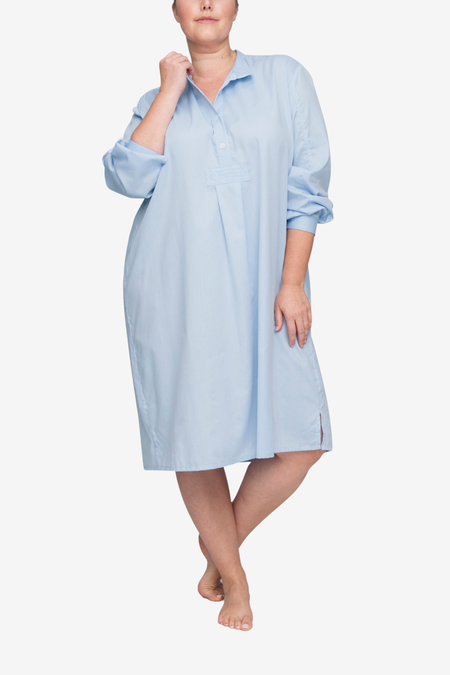 The Sleep Shirt Long Plus Sleep Shirt - Soft Blue Stripe