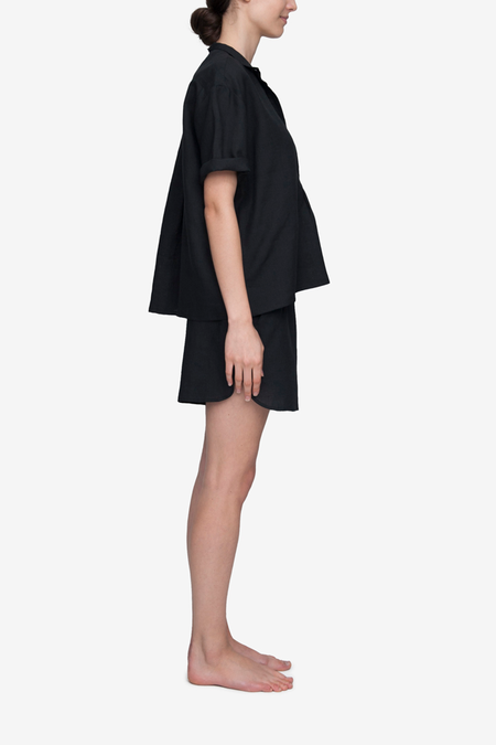 The Sleep Shirt Set Short Sleeve Cropped Sleep Shirt and Curved Hem Linen Short - Black