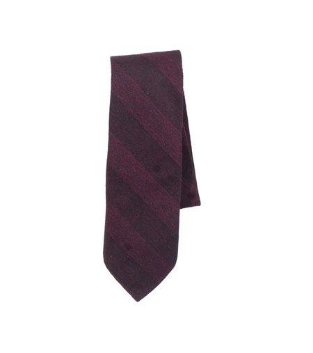 Freemans Sporting Club Unstructured Necktie - Burgundy Stripe