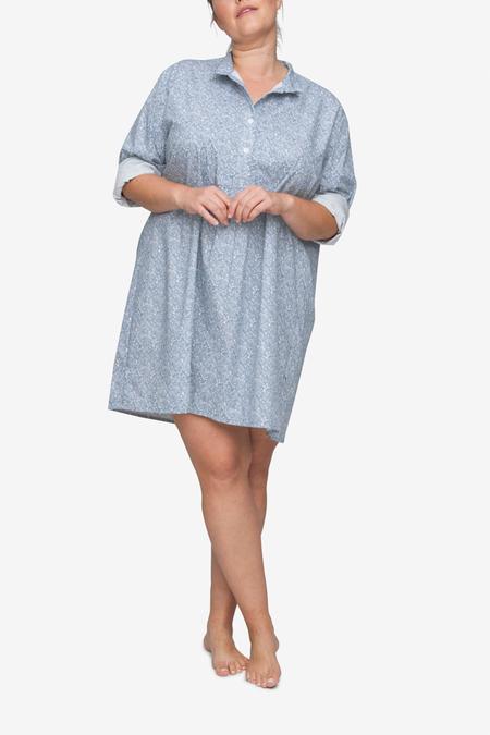 The Sleep Shirt Short Plus Sleep Shirt - Blue Drawn Flowers