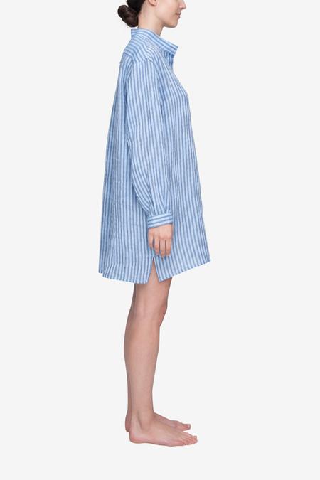 The Sleep Shirt Short Linen Sleep Shirt - Double Blue Stripe