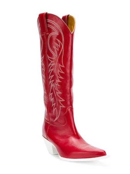 R13 Pointed Cowboy Boots - Red/White