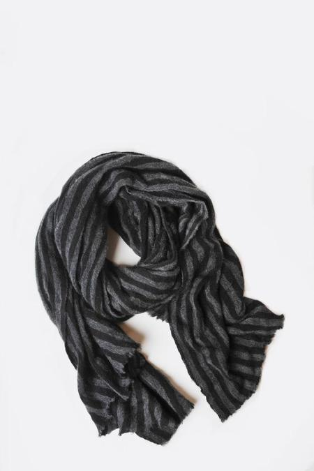 Botto Giuseppe Thick Striped Stole - Black/Grey
