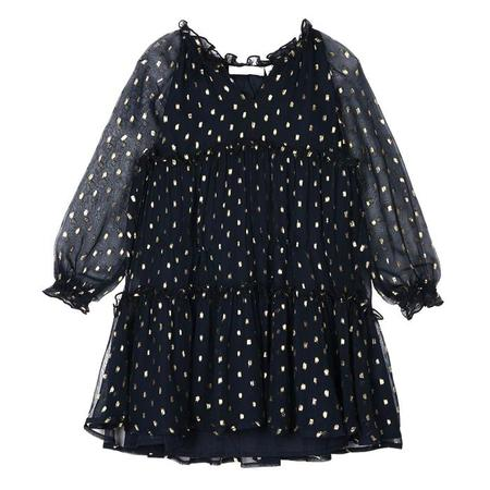 KIDS Stella McCartney Child Constance Dress - Navy Blue With Gold Accents