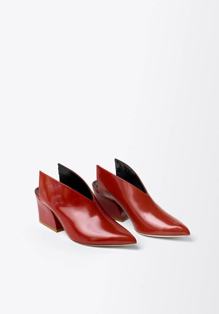 Tibi Owen Polished Calf Leather Mule - Dark Red